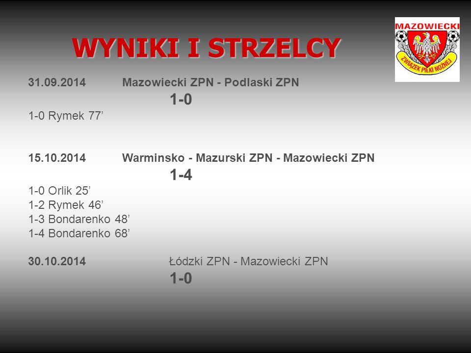 WYNIKI I STRZELCY 31.09.2014 Mazowiecki ZPN - Podlaski ZPN 1-0