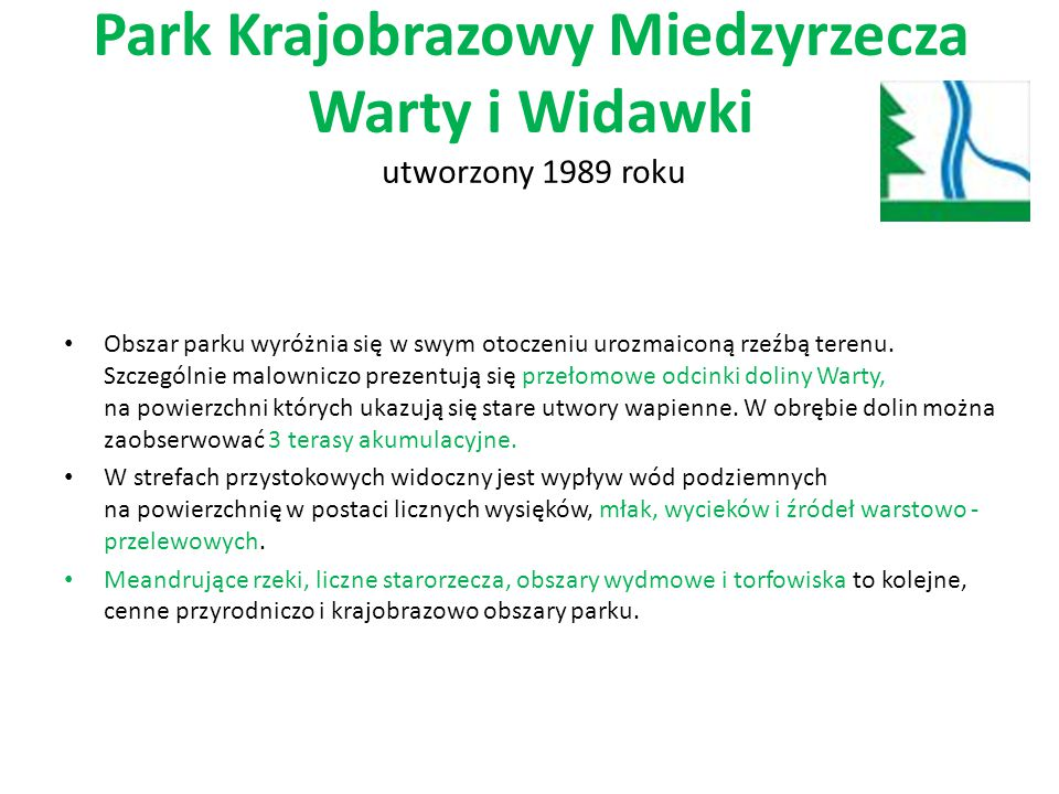 Park Krajobrazowy Miedzyrzecza Warty i Widawki utworzony 1989 roku