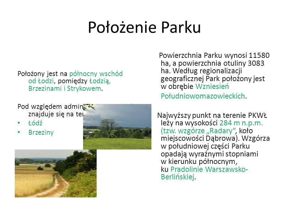 Położenie Parku Położony jest na północny wschód od Łodzi, pomiędzy Łodzią, Brzezinami i Strykowem.