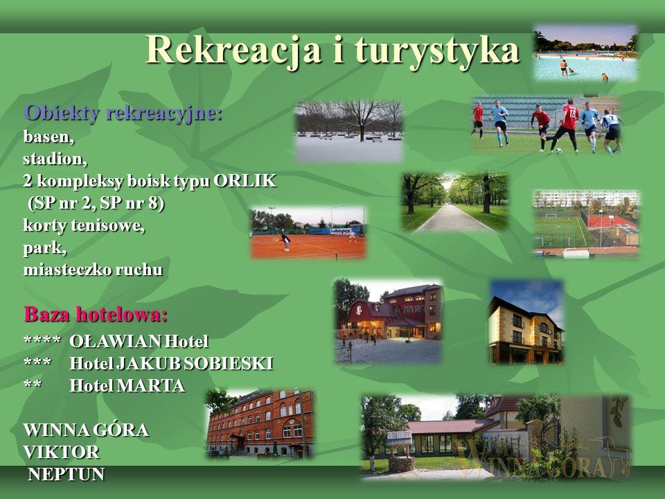 Rekreacja i turystyka Obiekty rekreacyjne: Baza hotelowa: basen,
