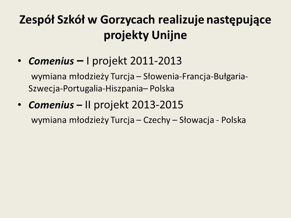 Zespół Szkół w Gorzycach realizuje następujące projekty Unijne