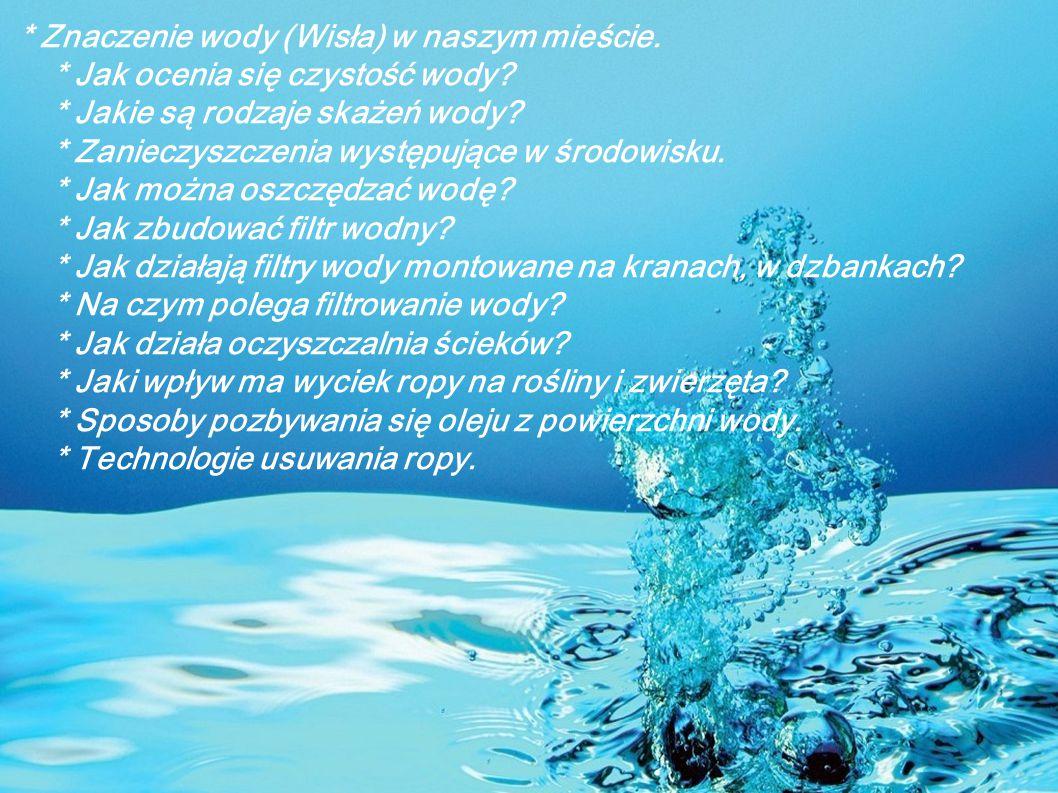 Znaczenie wody (Wisła) w naszym mieście. Jak ocenia się czystość wody
