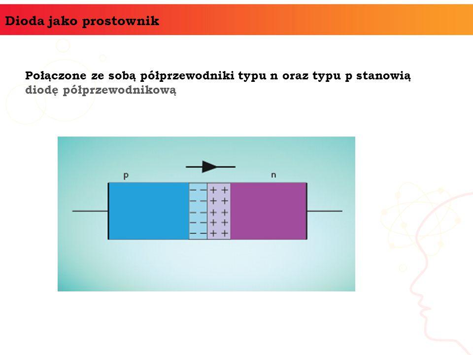 Dioda jako prostownik Połączone ze sobą półprzewodniki typu n oraz typu p stanowią diodę półprzewodnikową.