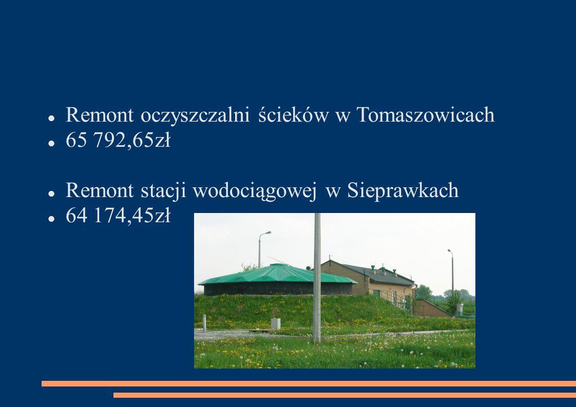 Remont oczyszczalni ścieków w Tomaszowicach