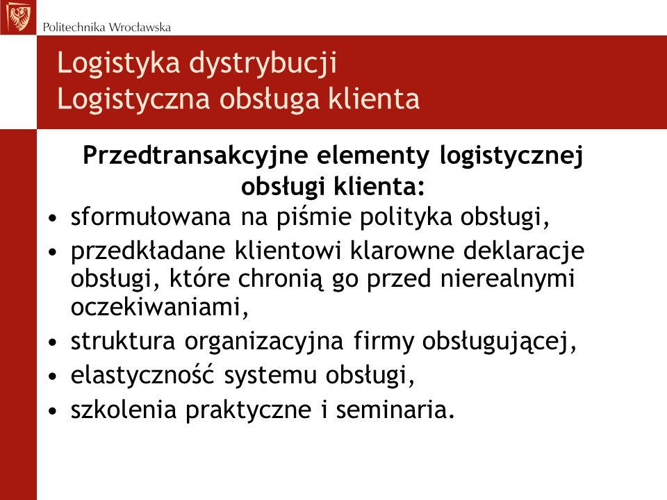 Przedtransakcyjne elementy logistycznej obsługi klienta: