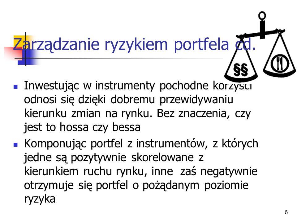 Zarządzanie ryzykiem portfela cd.