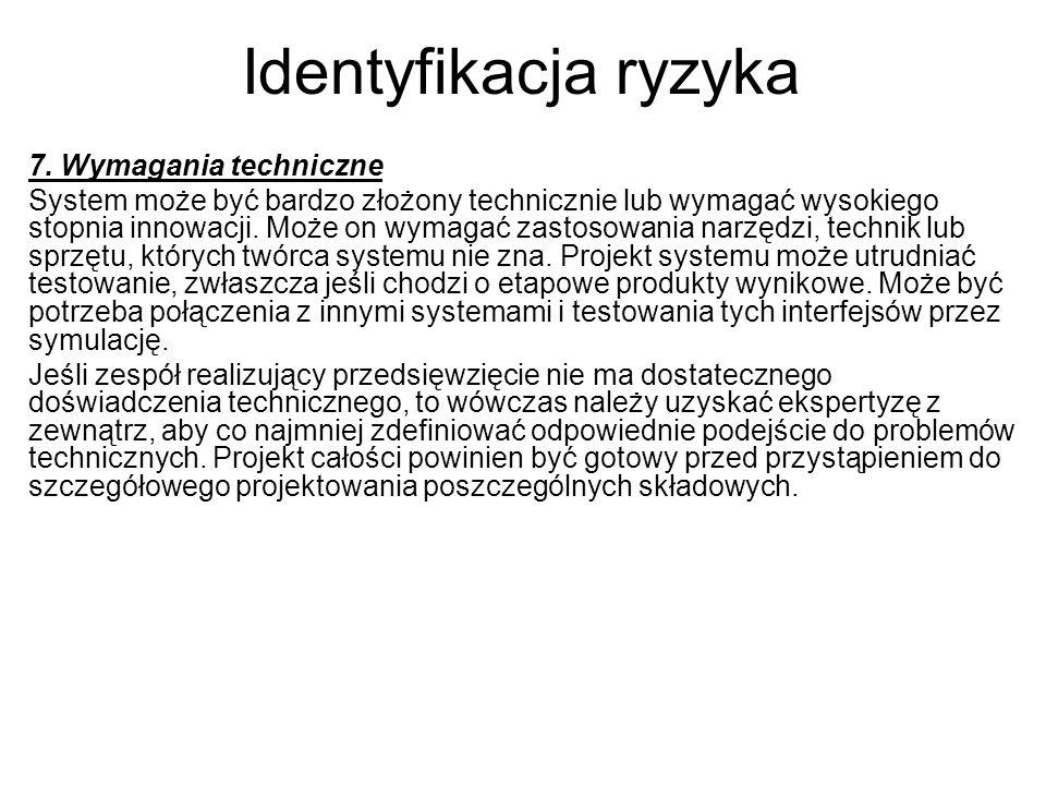 Identyfikacja ryzyka 7. Wymagania techniczne