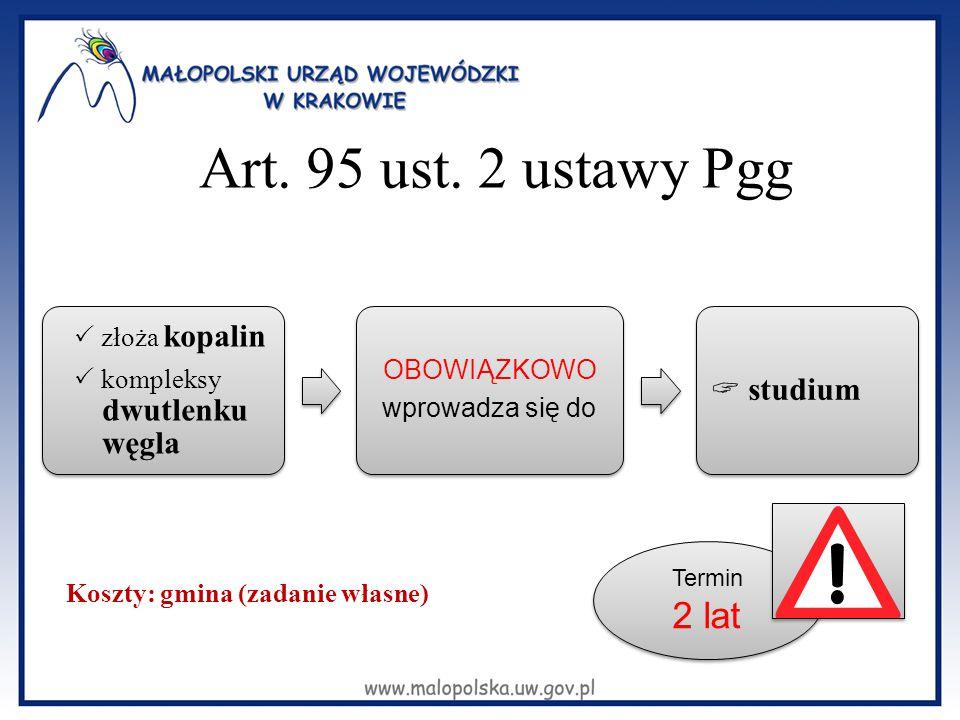 Art. 95 ust. 2 ustawy Pgg 2 lat  studium  złoża kopalin OBOWIĄZKOWO