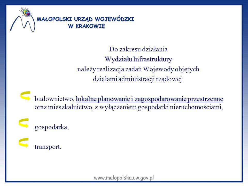 Do zakresu działania Wydziału Infrastruktury należy realizacja zadań Wojewody objętych działami administracji rządowej: budownictwo, lokalne planowanie i zagospodarowanie przestrzenne oraz mieszkalnictwo, z wyłączeniem gospodarki nieruchomościami, gospodarka, transport.