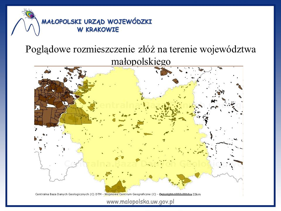 Poglądowe rozmieszczenie złóż na terenie województwa małopolskiego