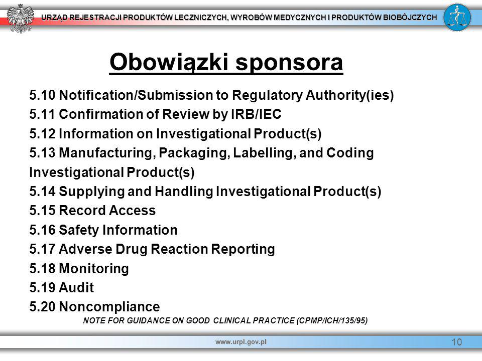 Obowiązki sponsora 5.10 Notification/Submission to Regulatory Authority(ies) 5.11 Confirmation of Review by IRB/IEC.