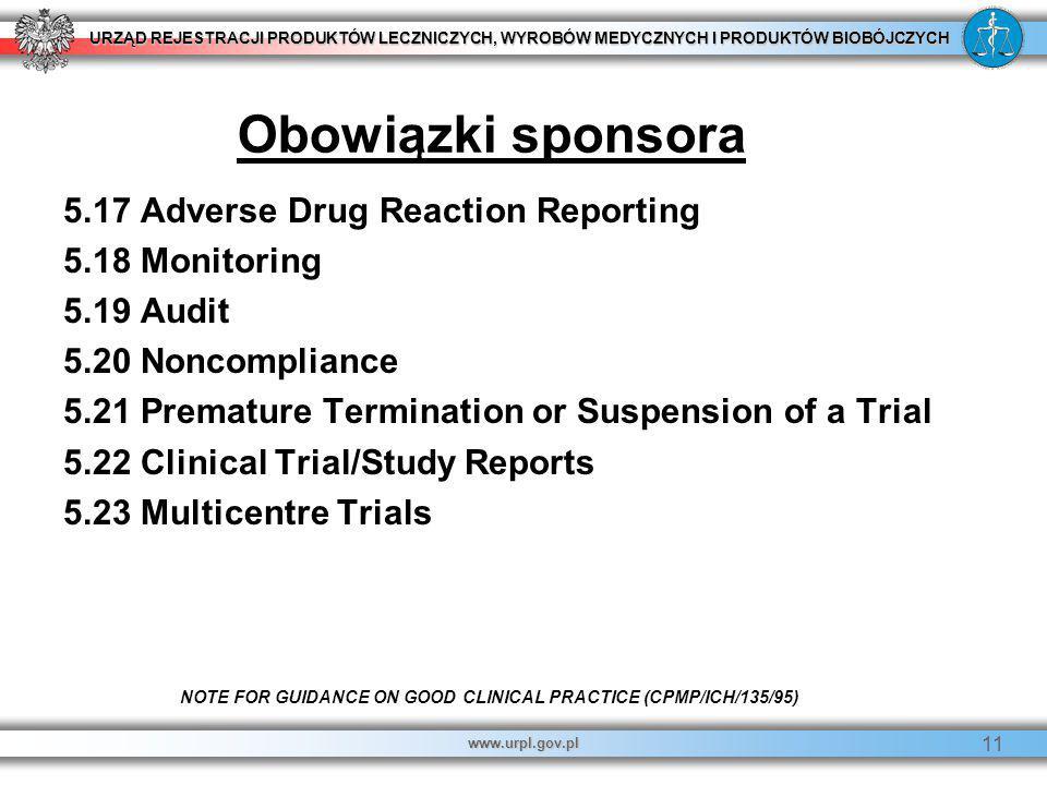 Obowiązki sponsora 5.17 Adverse Drug Reaction Reporting