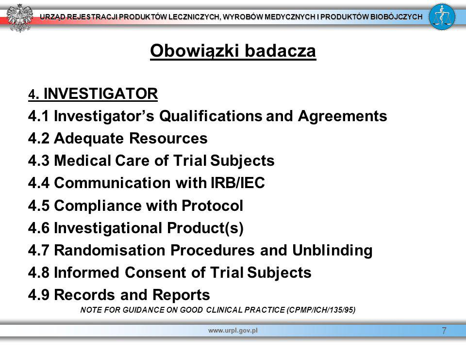 Obowiązki badacza 4.1 Investigator's Qualifications and Agreements