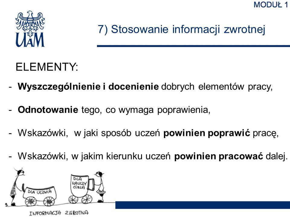 7) Stosowanie informacji zwrotnej