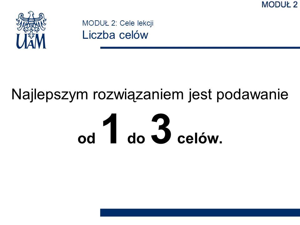 MODUŁ 2: Cele lekcji Liczba celów