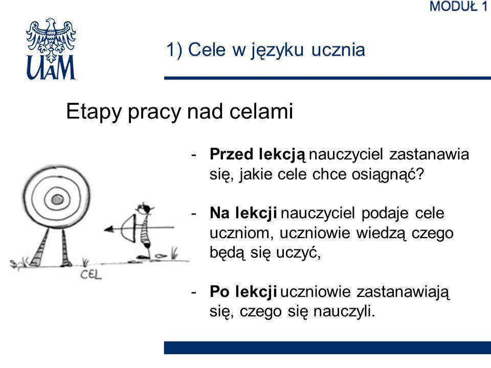 Etapy pracy nad celami 1) Cele w języku ucznia