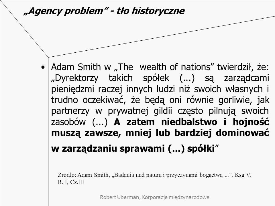 """""""Agency problem - tło historyczne"""