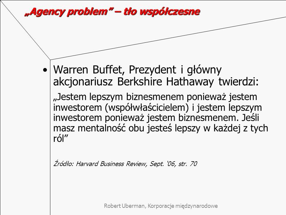 """""""Agency problem – tło współczesne"""