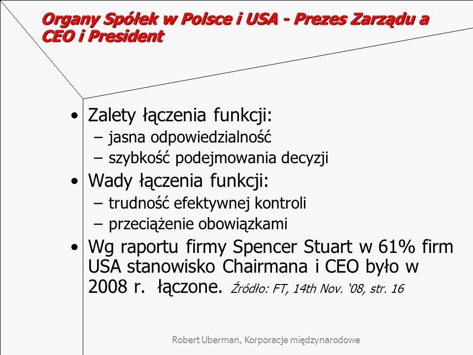 Organy Spółek w Polsce i USA - Prezes Zarządu a CEO i President