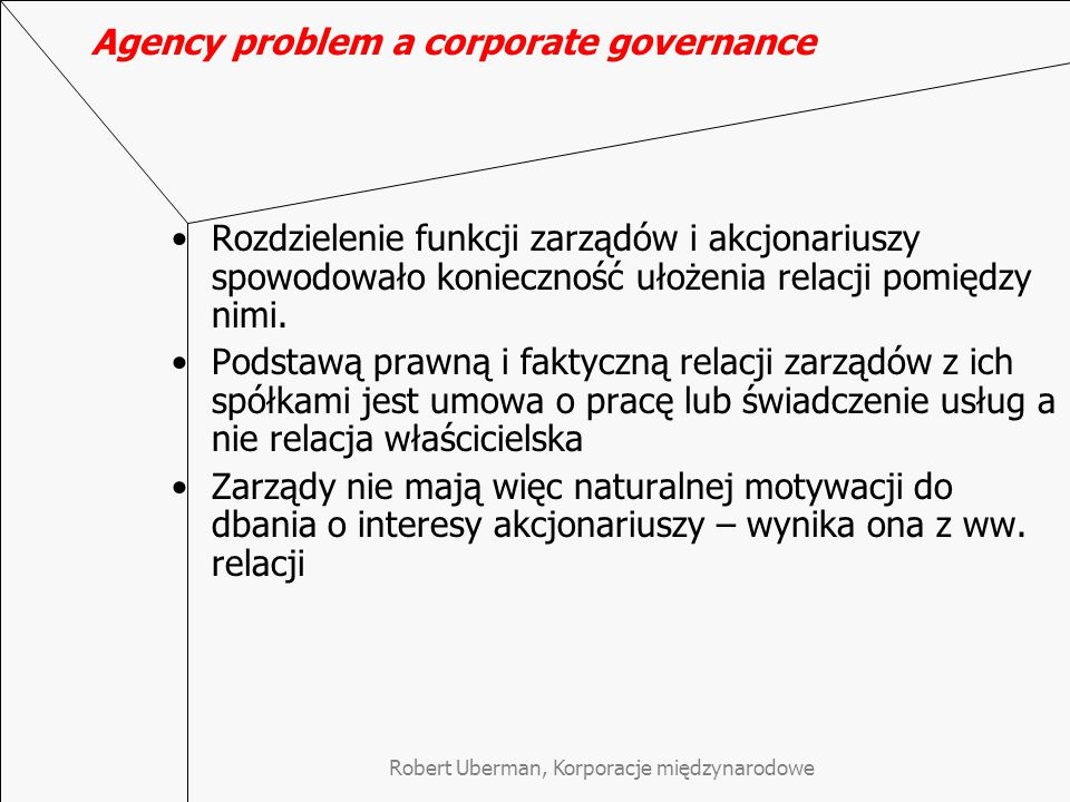 Agency problem a corporate governance