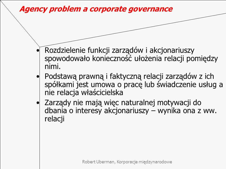 Agency problem a corporate governance