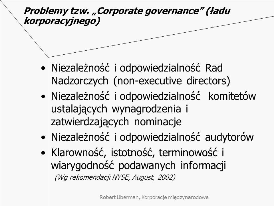 """Problemy tzw. """"Corporate governance (ładu korporacyjnego)"""