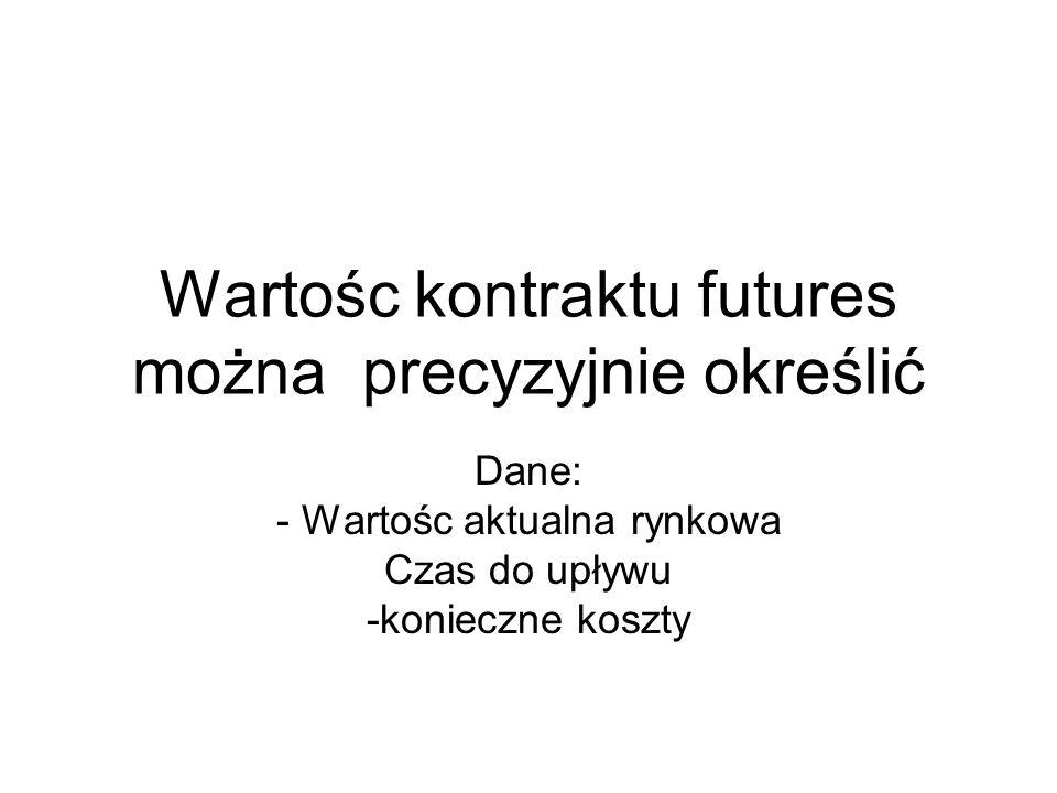 Wartośc kontraktu futures można precyzyjnie określić
