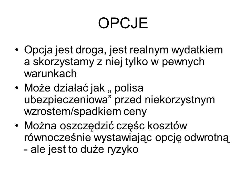 OPCJE Opcja jest droga, jest realnym wydatkiem a skorzystamy z niej tylko w pewnych warunkach.