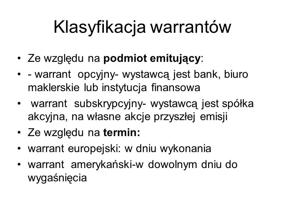 Klasyfikacja warrantów