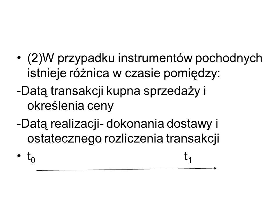 (2)W przypadku instrumentów pochodnych istnieje różnica w czasie pomiędzy: