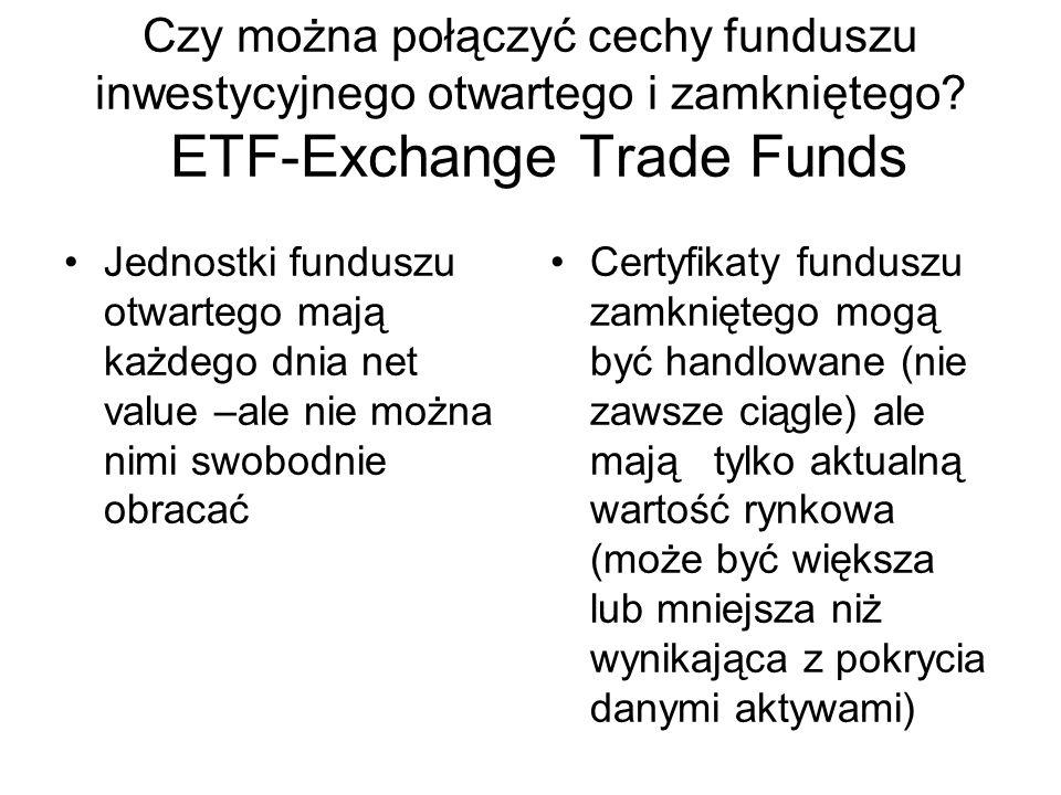 Czy można połączyć cechy funduszu inwestycyjnego otwartego i zamkniętego ETF-Exchange Trade Funds