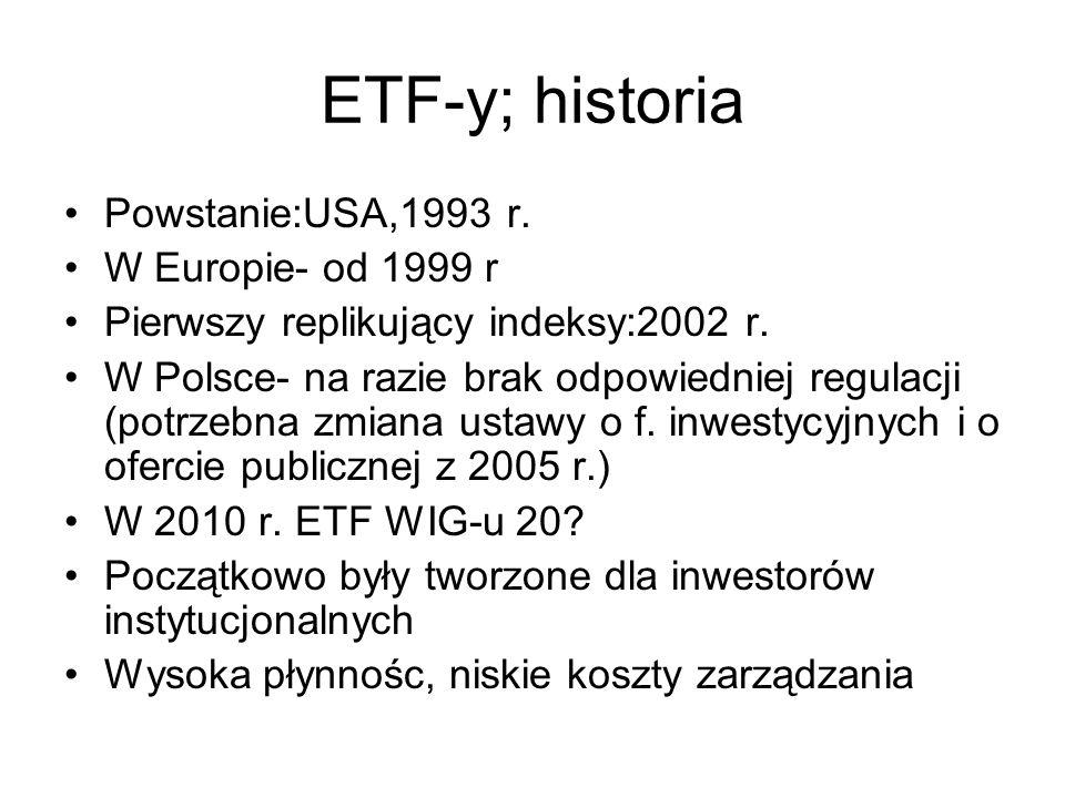ETF-y; historia Powstanie:USA,1993 r. W Europie- od 1999 r