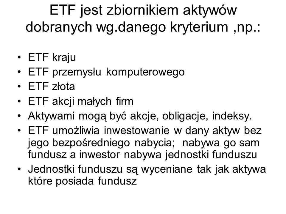 ETF jest zbiornikiem aktywów dobranych wg.danego kryterium ,np.: