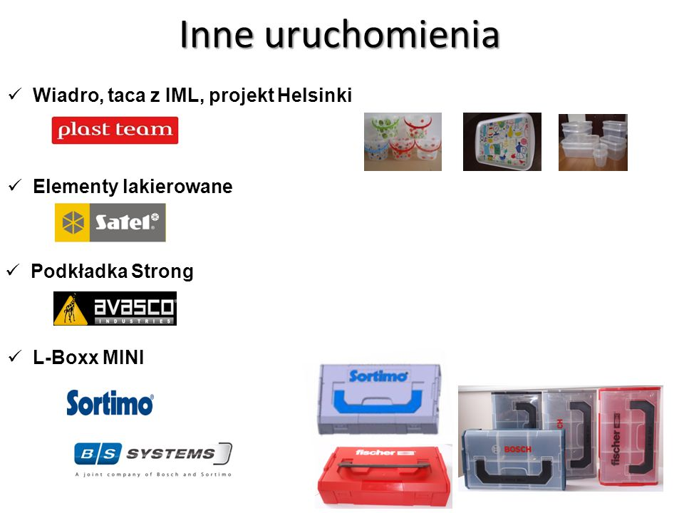 Inne uruchomienia Wiadro, taca z IML, projekt Helsinki