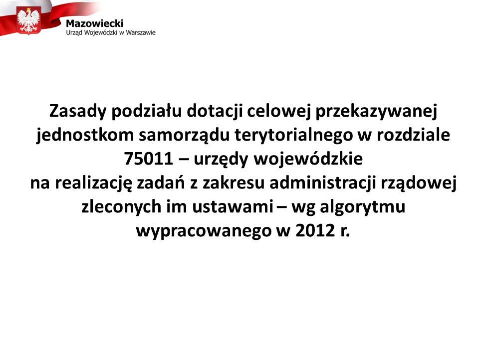 Zasady podziału dotacji celowej przekazywanej jednostkom samorządu terytorialnego w rozdziale 75011 – urzędy wojewódzkie na realizację zadań z zakresu administracji rządowej zleconych im ustawami – wg algorytmu wypracowanego w 2012 r.