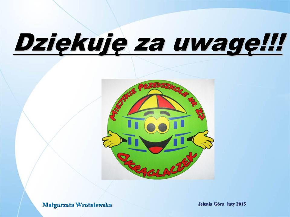 Dziękuję za uwagę!!! Małgorzata Wrotniewska Jelenia Góra luty 2015