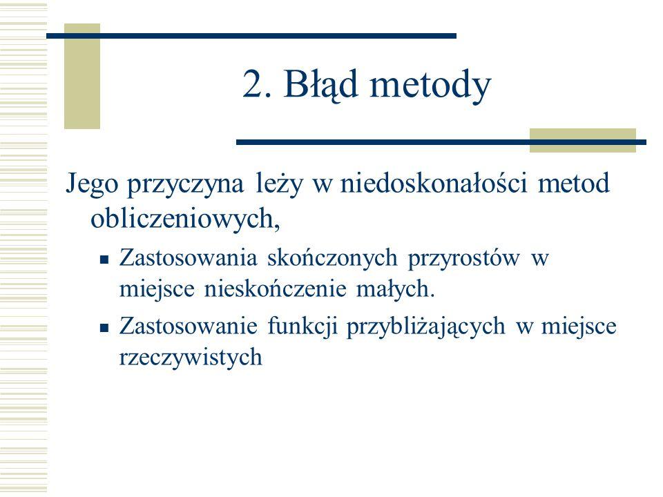 2. Błąd metody Jego przyczyna leży w niedoskonałości metod obliczeniowych, Zastosowania skończonych przyrostów w miejsce nieskończenie małych.