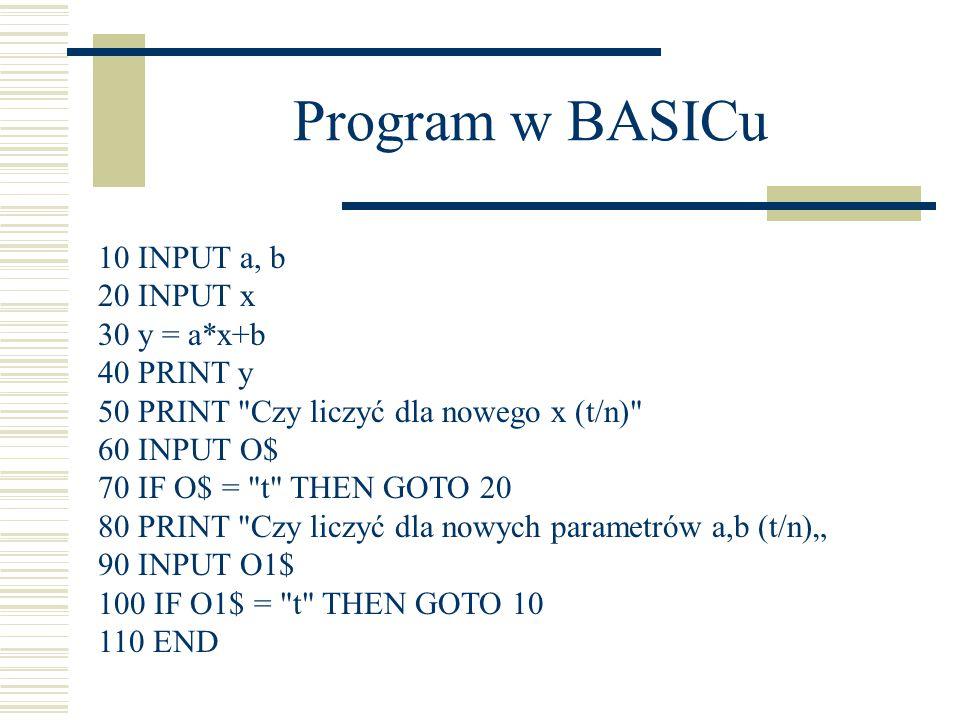 Program w BASICu 10 INPUT a, b 20 INPUT x 30 y = a*x+b 40 PRINT y