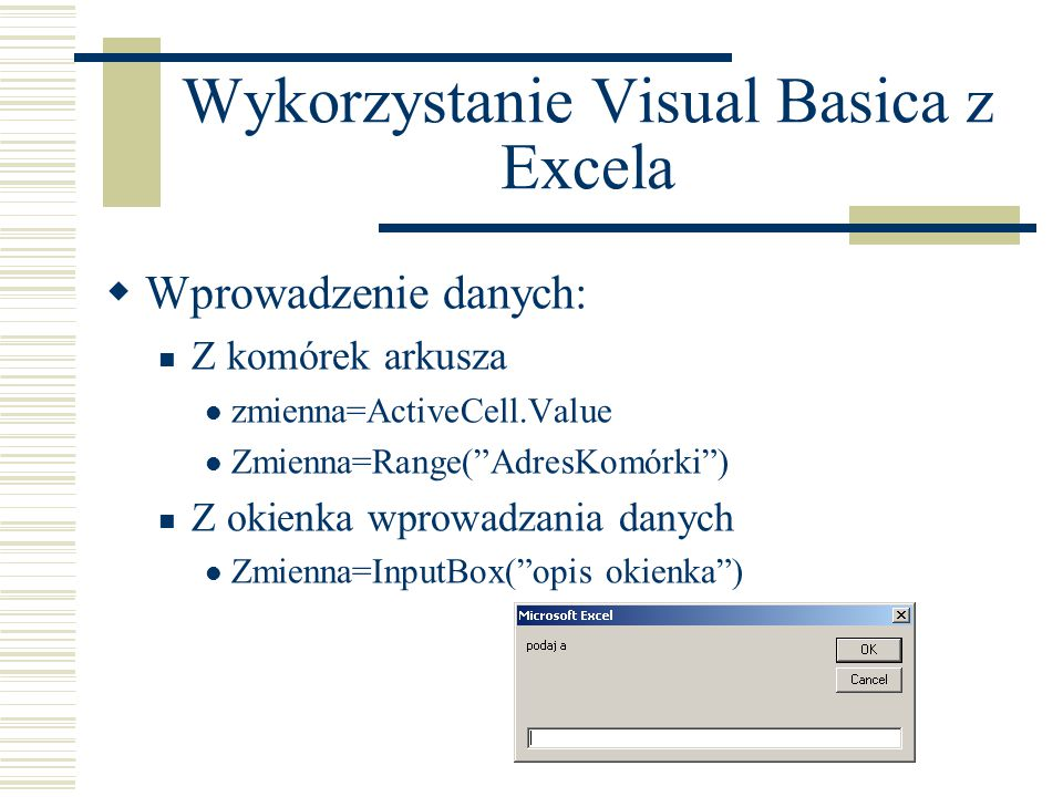 Wykorzystanie Visual Basica z Excela