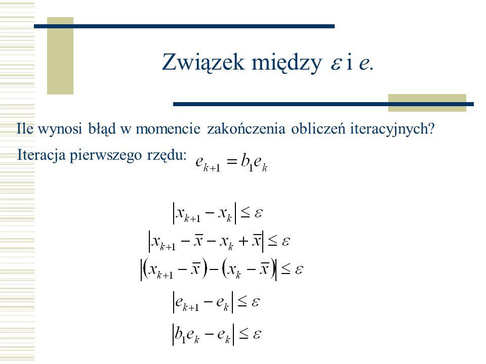 Związek między e i e. Ile wynosi błąd w momencie zakończenia obliczeń iteracyjnych.
