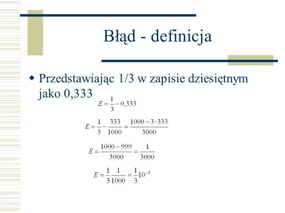Błąd - definicja Przedstawiając 1/3 w zapisie dziesiętnym jako 0,333