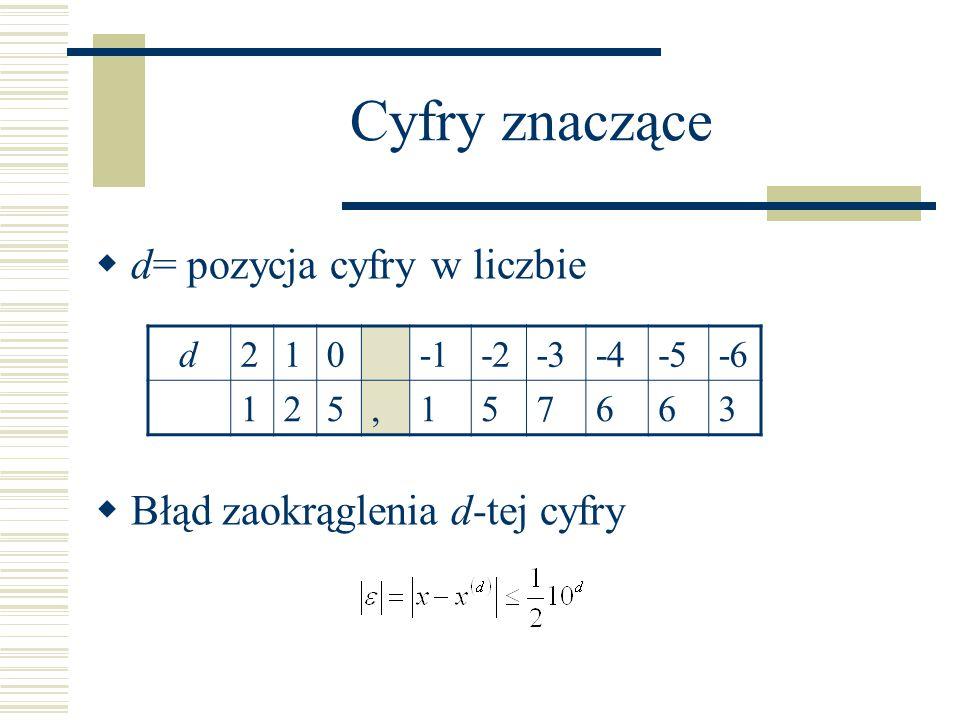 Cyfry znaczące d= pozycja cyfry w liczbie