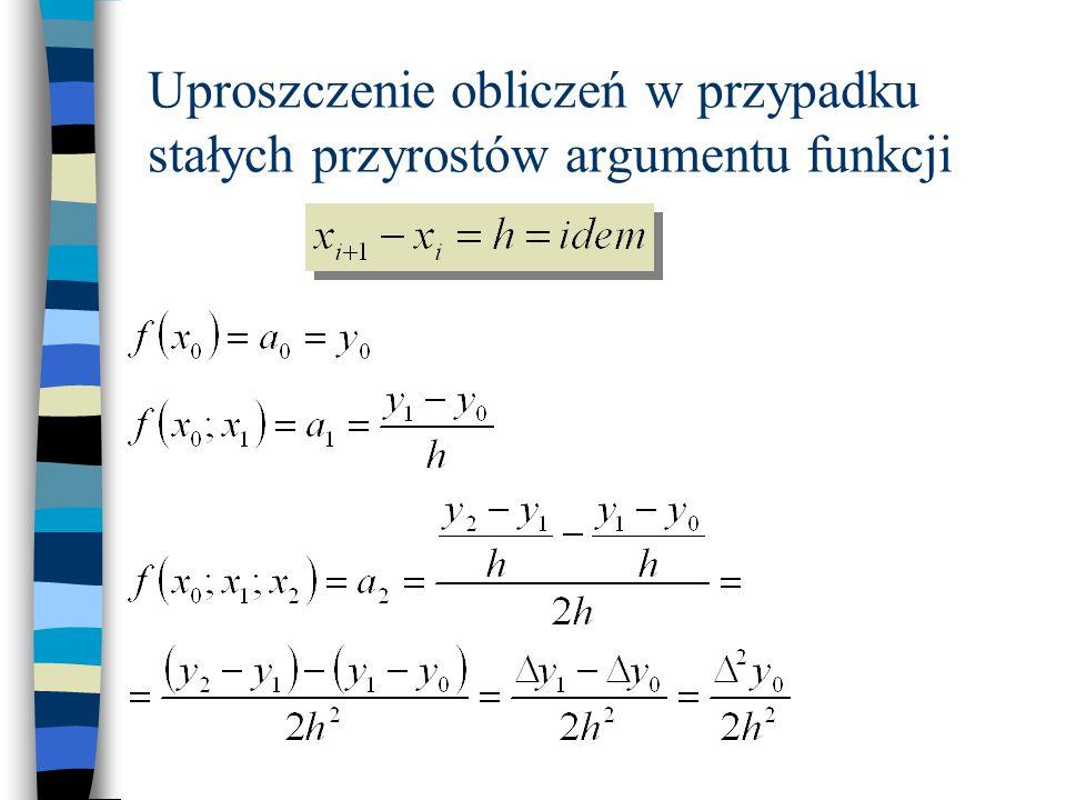 Uproszczenie obliczeń w przypadku stałych przyrostów argumentu funkcji