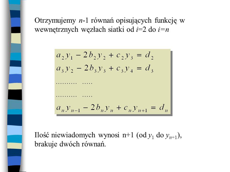 Otrzymujemy n-1 równań opisujących funkcję w wewnętrznych węzłach siatki od i=2 do i=n
