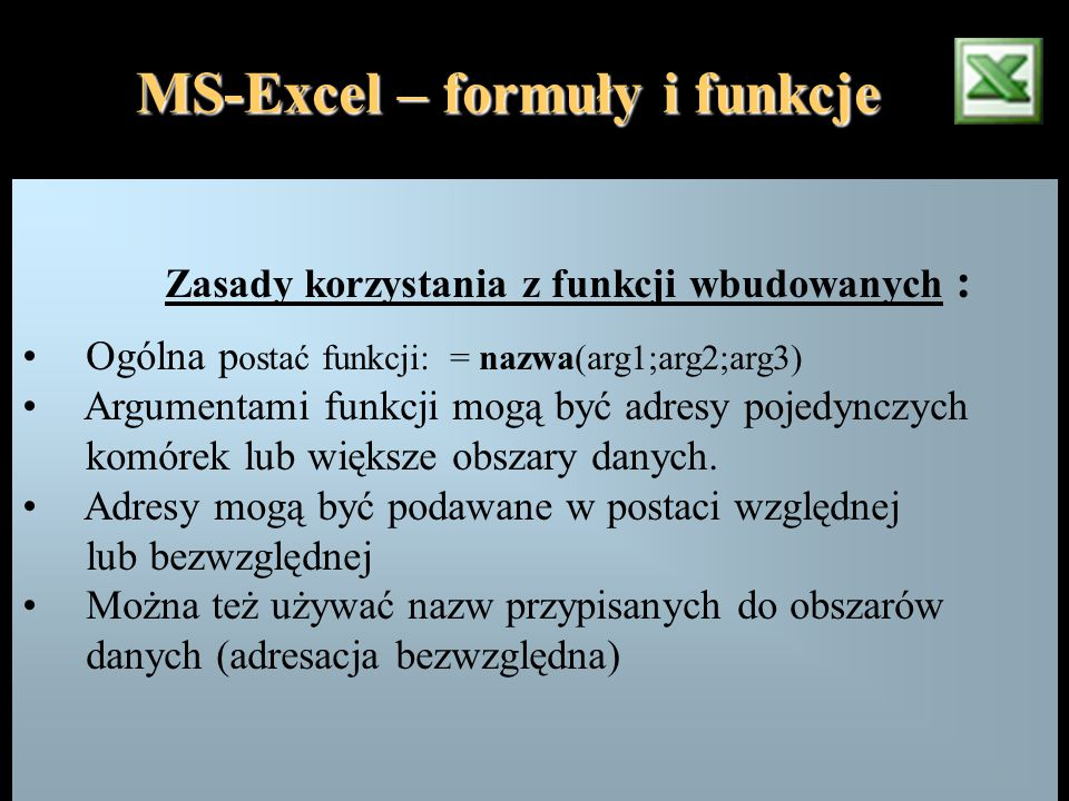 MS-Excel – formuły i funkcje