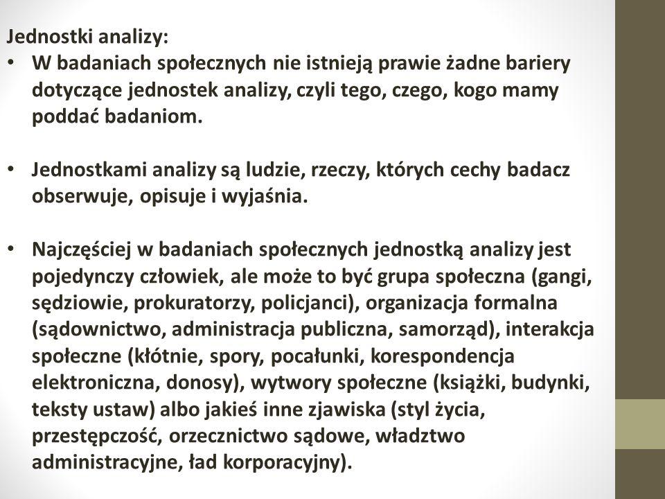 Jednostki analizy: