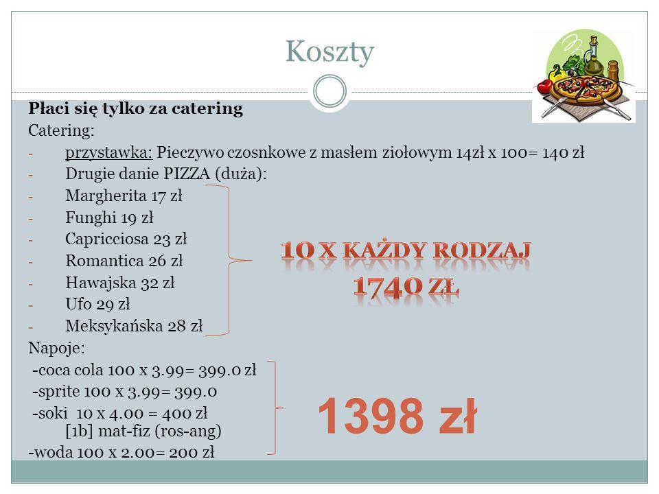 1398 zł Koszty 10 x każdy rodzaj 1740 zł Płaci się tylko za catering