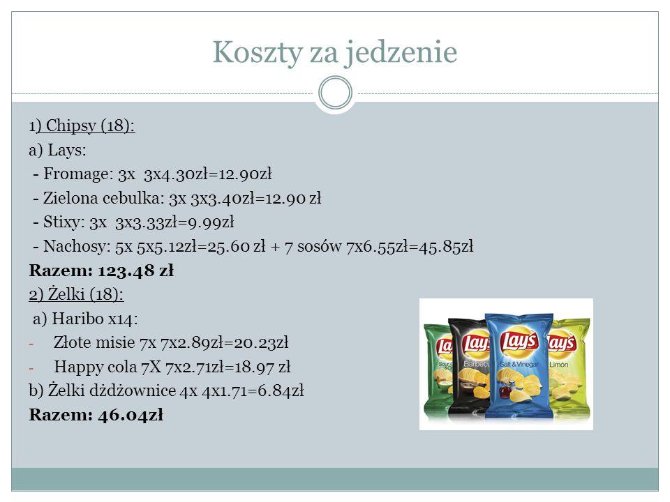 Koszty za jedzenie 1) Chipsy (18): a) Lays:
