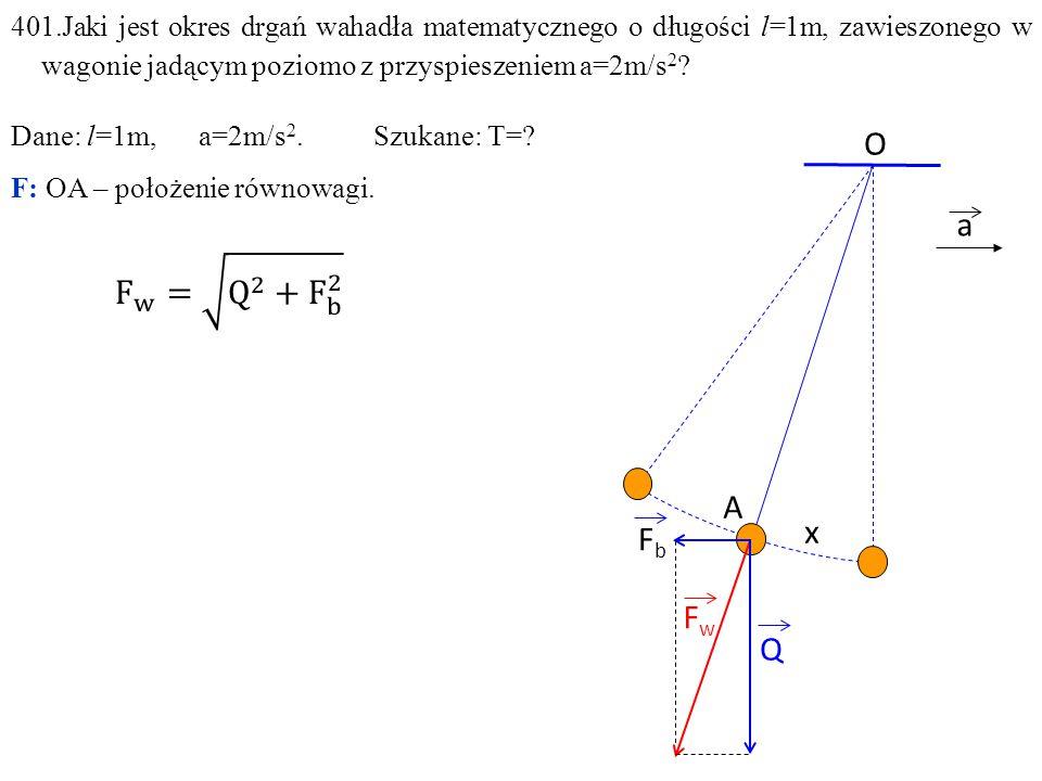 401.Jaki jest okres drgań wahadła matematycznego o długości l=1m, zawieszonego w wagonie jadącym poziomo z przyspieszeniem a=2m/s2