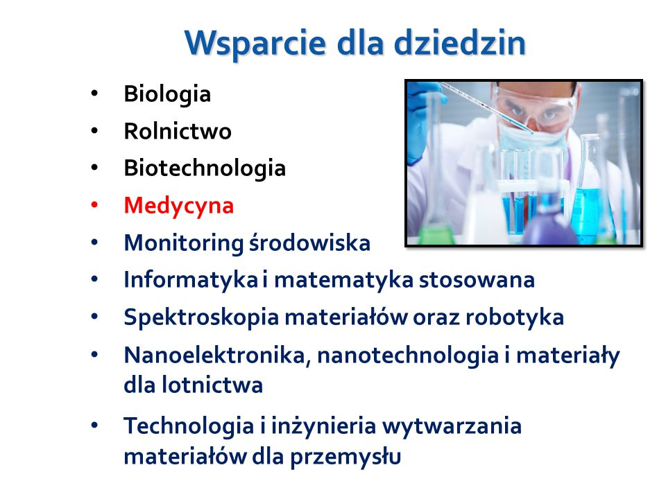 Wsparcie dla dziedzin Biologia Rolnictwo Biotechnologia Medycyna
